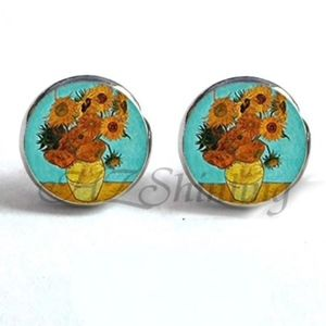 Jewelry - NEW Round Blue Yellow Sunflower Stud Earrings